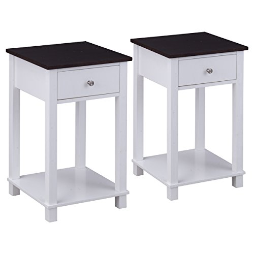 Giantex Set Of 2 Night Stand for Bedrooms End Table with Storage Drawer & with Lower Shelf Storage Bedside Cabinet