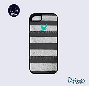 Case For Iphone 5/5S Cover Tough Case - Zebra Stripes Turquoise Bird iPhone Cover
