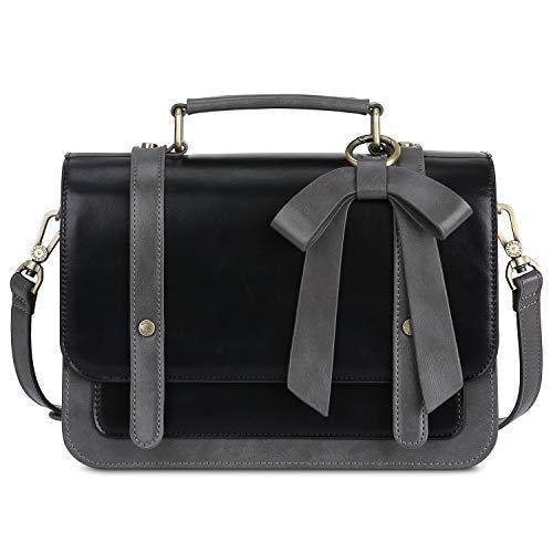 ECOSUSI Women's Small Vintage PU Leather Crossbody Satchel Bag with Detachable Bow, Black ()