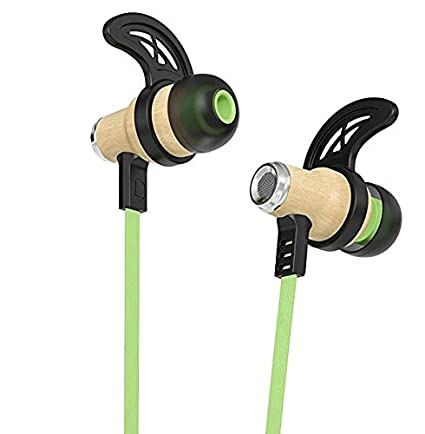 Symphonized Nrg Bluetooth Wireless Wood In Ear Noise Isolating Headphones, Earbuds, Earphones With Mic & Volume Control (Green) by Symphonized