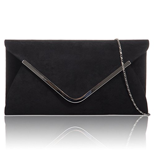 Prom Women Xardi Black London Suede Leather Evening Bags Clutch Baguette Ladies New Envelope Faux SYrPSO