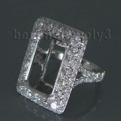 - FidgetGear Solid 18K White Natural Semi Mount Ring Emerald Cut 9x14mm