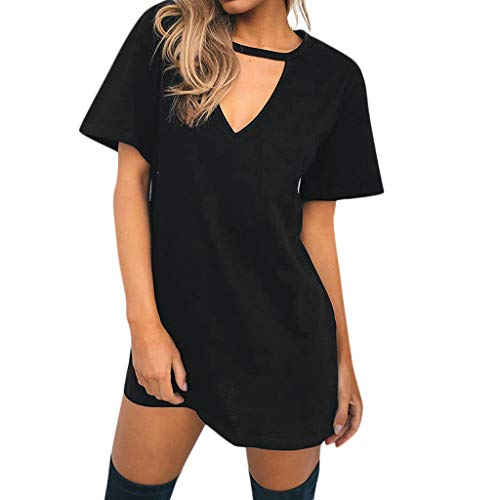 Women's deep V T Shirt Casual Long Loose Large Size Shirt Ladies Summer Solid Color Wild T-Shirt top MEEYA -