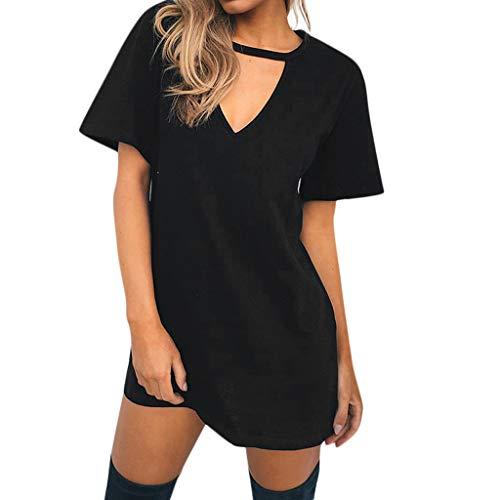 Women Dress Sexy Deep Choker V-Neck Casual Loose Short Sleeve Mini Dress Solid Above Knee Plain Comfort Spring Summer Skirt ()