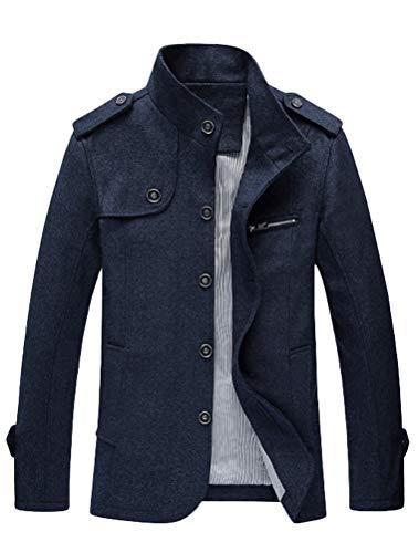 Matchlife Uomo Invernali Nuove Eleganti Style3 dunkelblau Collare Lana Capispalla Cappotto Classic RpqaxRSO
