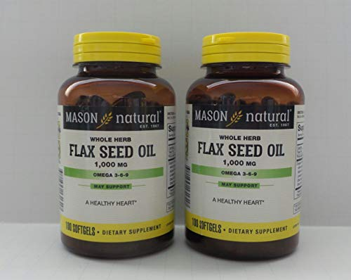 Mason Vitamins Flax Seed Oil 1000Mg (Omega 3-6-9 Linaza) Softgels, 100-Count Bottles (Pack of 2) by Mason Vitamins