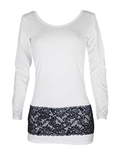 encaje manga de de de noche RETUROM cóctel vestido larga invierno Vestido moda fiesta de de otoño de de Mujeres otoño Blanco invierno de qwPfdY76x