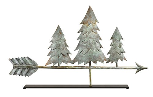 Good Directions Pine Trees Blue Verde Copper Table Top Sculpture - Home Decor