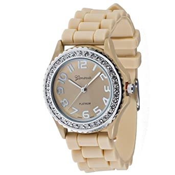 Mens & Womens Geneva Beige Tan Silicone Crystal Large Face Watch