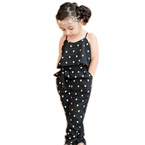 (1-7 Years Baby Kids Girls Straps Rompers,Casual Overalls Cute Love Heart Jumpsuits Piece Pants Clothing (Black, 6T(5-6Years)))