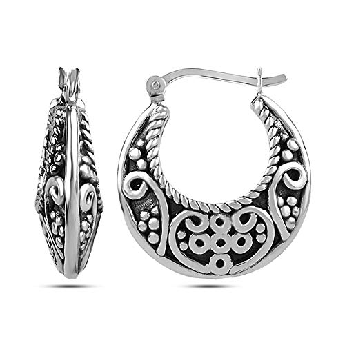 LeCalla Sterling Silver Jewelry Antique Electroforming Twisted Wire Filigree Cut Bali Hoop Earring for Women