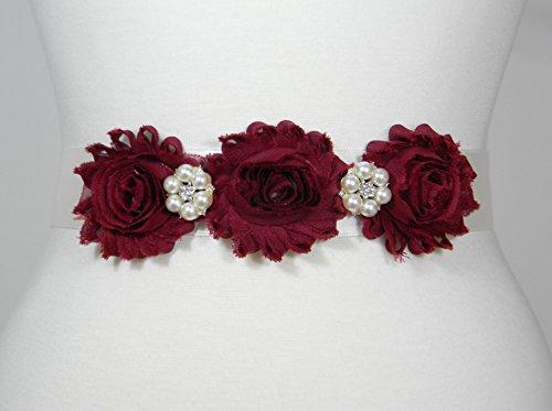 Maroon Flowers and Ivory Ribbon Bridal Belt, Wedding Belt, Bridal Sash, Flower Girl Dress Wedding Sashes, Pearl and Crystal Rhinestone Belts, ELSA by PCB Studio