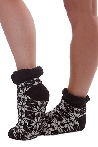 Women's Snowflake Faux Fur Holiday Booties with Grippers -Black