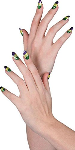 Mardi Gras Tri Color Fake Nails Purple Gold Green Costume Accessory Prop Glitter