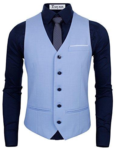 TAM WARE Mens Premium Slim Fit Fully Lined Twill Vest TWMV03-SKYBLUE-L