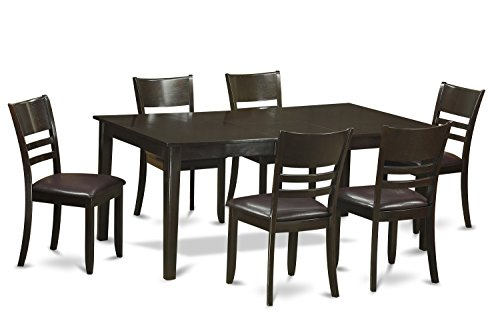 East West Furniture HELY7-CAP-LC 7-Piece Formal Dining Table Set, Cappuccino Finish
