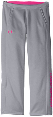 Under Armour Women's Armour Fleece Pants, True Gray Heather /Rebel Pink, Youth X-Large