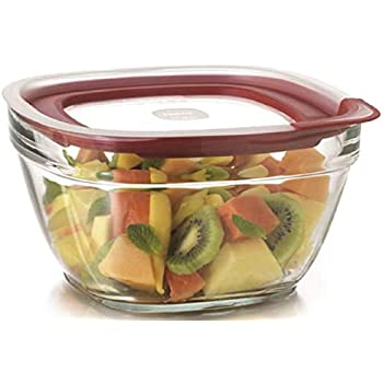 Rubbermaid Food Storage Container Freezer, Glass 11.5 Cup Square, Clear