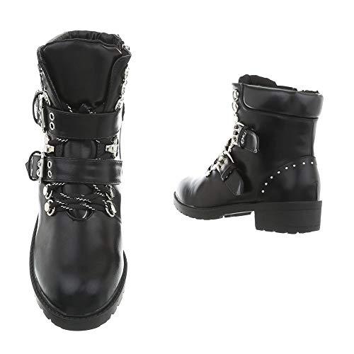 Schwarz Bottines design Et Chaussures Bloc Gf056 Ital amp; Femme Western Bottes Bikerbottes wHxZR