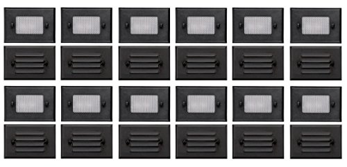 12 Pack of Malibu 8301-2402-12 Half Brick Deck Step Light w/ 2 Lenses ea, 7 Watt, Black Finish BY MALIBU DISTRIBUTION (Louvered Lens)