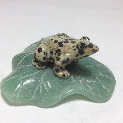 Dalmatian Jasper Frog on Green Aventurine Leaf Carving