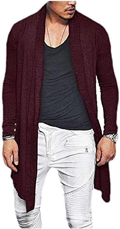 Men Stylish Plain Open Front Drape Cape Slim Fit Jacket Cardigan Coat: Odzież