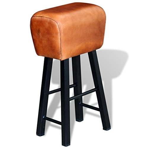 Festnight 30 Inch Upholstered Real Leather Bar Stool with Iron Frame, Brown