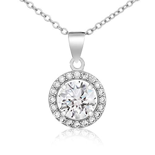 Lusoro 925 Sterling Silver Round Cut AAA Cubic Zirconia Halo Pave Frame Pendant Necklace 18