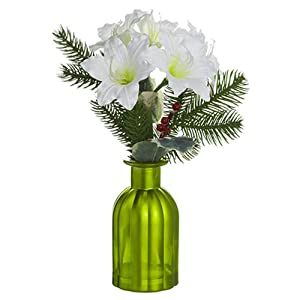"""12"""" Amaryllis Silk Flower Arrangement -White (Pack of 6) 82"""