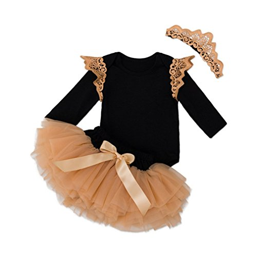 Infant Baby Girl Wing Long Sleeve Romper +Yarn Skirt Set Outfits With Crown Head Band (6-12M)