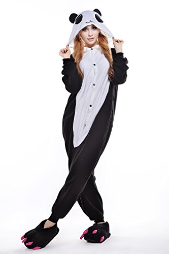 [Adult Cosplay Costume Pajamas Animal Jumpsuit Outfit Anime Makeup Partywear-Red-tear Panda,S] (Red Panda Tail Costume)