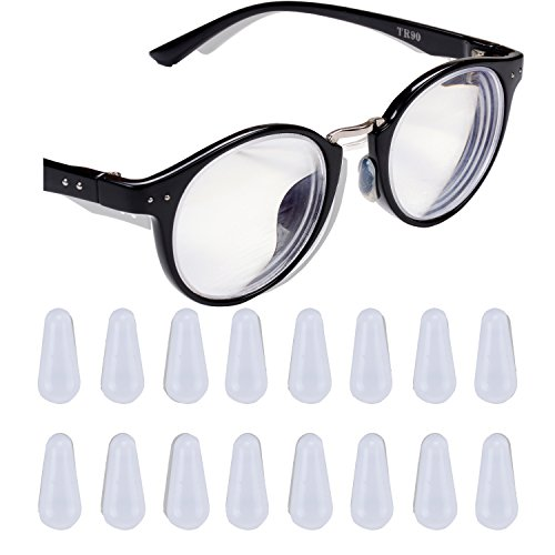 eMingo 10 Pair Eyeglasses Nose Pads,Anti-Slip Adhesive Silicone Nose Pad for Eyeglass Sunglasses Spectacles (Clear, M-1.8MM)