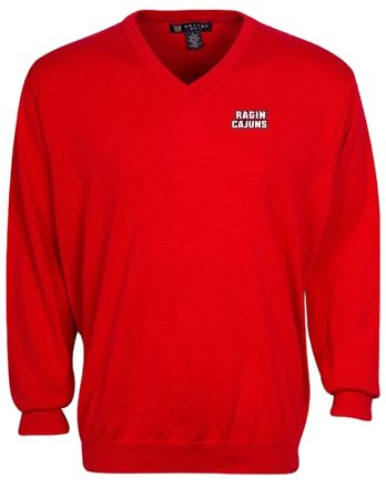 Oxford NCAA Louisiana Lafayette Ragin' Cajuns Men's Devon V-Neck Sweater (Flag Red, X-Large) by Oxford