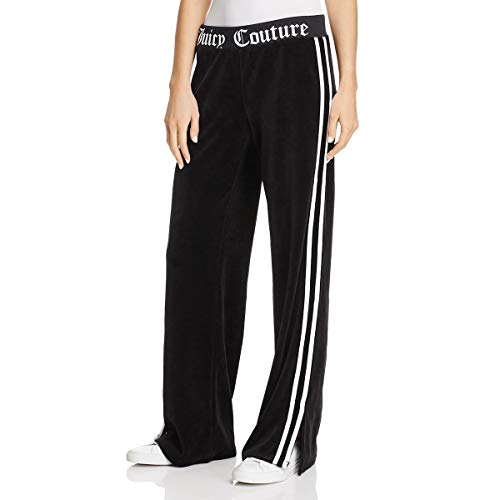 Juicy Couture Black Label Womens Velour Wide Leg Pants Black Size M - Juicy Couture Stripe Velour