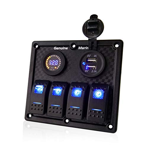 4 Gang Contura Switch Waterproof Panel - Digital Voltmeter Display with Blue LED, 12V Circuit Breaker Universal Control Switcher with 5V 3.1A USB Mount DC Charger Socket, for RV Boats Cars Motor-House