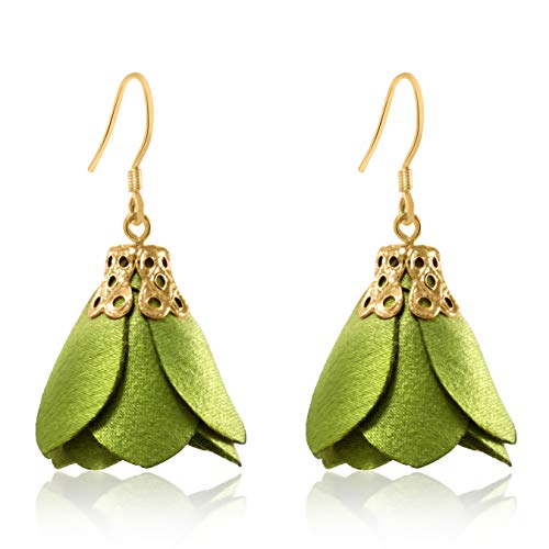 Tassel French - Rose Flower Tassel Earrings Fabric Dangle Drop 925 Silver French Hook Jewelry for Women's (Green)