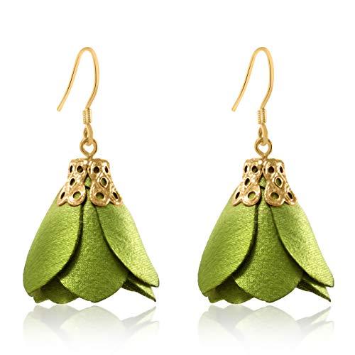 Rose Flower Tassel Earrings Fabric Dangle Drop 925 Silver French Hook Jewelry for Women