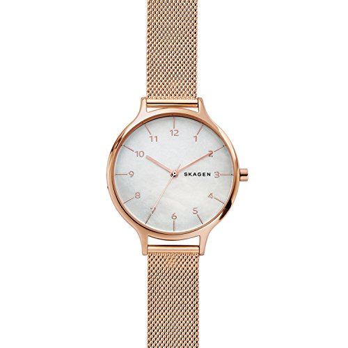 - Skagen Women's Anita Quartz Stainless Steel Mesh Casual Watch, Color: Gold (Model: SKW2633)