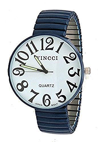 Ladies Super Large Face Stretch Band Easy to Read Watch_Navy Blue Dark Navy Blue Dial