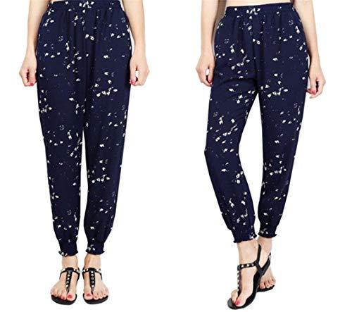 Élastique Pantalon couleur Avec Sarouel Stretch Confortable Haute Imprimée Femme 2 Décontracté Imprimé S Bleu Taille Mode UqvXTq