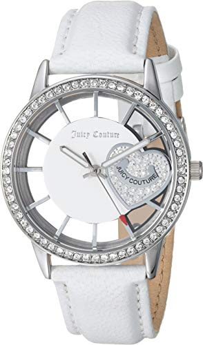 White Couture Juicy Leather - Juicy Couture Black Label Women's Swarovski Crystal Accented White Leather Strap Watch