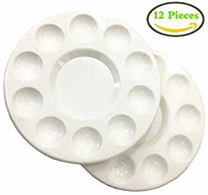 Round Artist Craft Palettes Paint Tray Plastic Palettes Watercolor Oil Painting Tray, 10 Wells, 17 cm, White, 12 Pack
