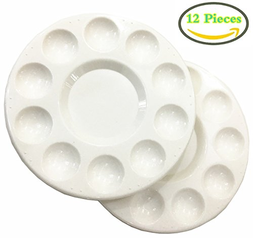 Round Artist Craft Palettes Paint Tray Plastic Palettes Watercolor Oil Painting Tray, 10 Wells, 17 cm, White, 12 Pack (Watercolor Plastic)