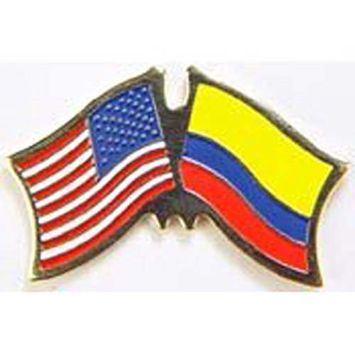 World National Flag (Metal Lapel Pin - American and World National Flag Crossed - Colombia)