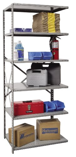 - Hallowell A7511-18HG Extra Heavy-Duty Open Hi-Tech Shelving Add-On Unit with 6 Shelves, Hallowell Gray Steel, 36