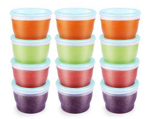 QOOC Baby Food Storage Freezer Containers, BPA-Free Airtight Plastic Set of 12-4 Ounce, Mint Blue (Baby Food Storage 4 Oz)