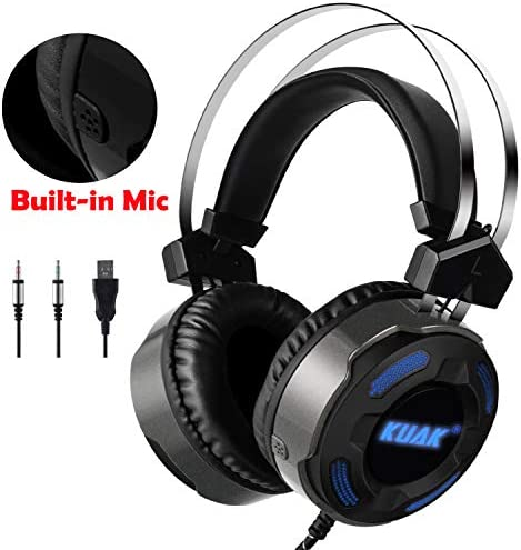 KUAK X3 Gaming Headset with Mic for Xbox One PS4 PC,Over Ear Bass Stereo Gaming Headphones with Noise Cancelling, Volume Control, Flexible Headband and 7Color LED Light, 3.5mm Plug for Computer Laptop