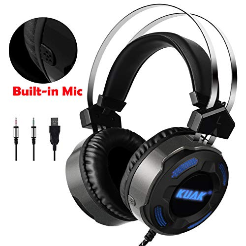 KUAK X3 Gaming Headset with Mic for Xbox One PS4 PC,Over Ear Bass Stereo Gaming Headphones with Noise Cancelling, Volume Control, Flexible Headband and 7Color LED Light, 3.5mm Plug for Computer/Laptop (Without Gaming Headsets Mic)