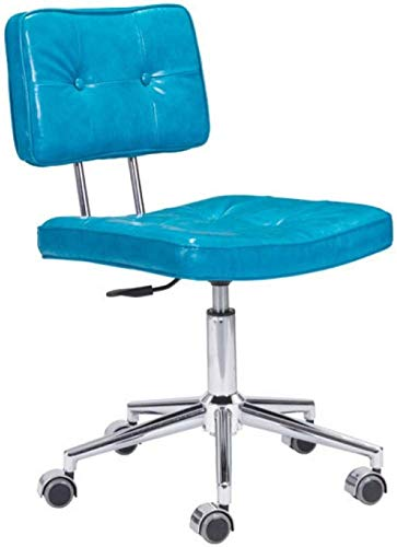 Zuo Modern 100238 Series Office Chair, Neon Blue, Plush Seat and Separate Back Are Accented with Button Details, Soft Leatherette Fabric on Adjustable Height Chromed Steel Star Base