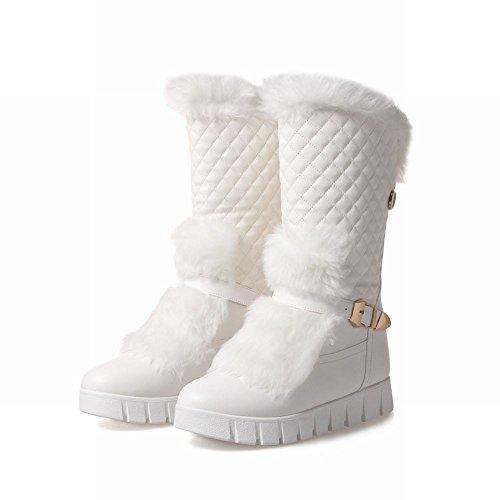 Johannesbroeken Dames Faux Fur Gesp Mode Comfort Warm Snowboots Wit